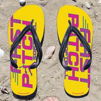 Fast Pitch Softball on Yellow Flip Flops - Kick back after a softball game with these great flip flops! Fun and functional flip flops for all softball players and fans.