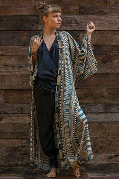 Ethnic Boho Long Sleeve Beach Kimono – Chic Boho Style Bohemian Kimono, Beach Kimono, Kimono Blouse, Cotton Kimono, Nautical Fashion, Boho Fashion, Nautical Style, Boho Style, Long Sleeve Kimono
