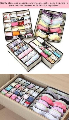 55 Genius Storage Inventions That Will Simplify Your Life -- A ton of awesome organization ideas for the home (car too! A lot of these are really clever storage solutions for small spaces. (small apartment tips storage solutions) Home Organisation, Closet Organization, Closet Storage, Underwear Organization, Closet Drawers, Storage Drawers, Diy Storage, Organization Ideas For Bedrooms, Clothes Storage Ideas For Small Spaces