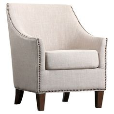 Add a classic touch to your living room or master suite with this linen-upholstered arm chair, showcasing track arms and nailhead trim.