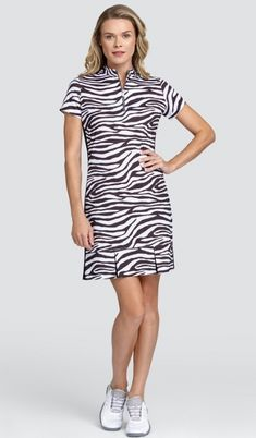 "#lorisgolfshoppe Women's Golf Apparel offers a classy collection of golf skorts, shorts, dresses, and golf tops. You gotta see this Zebra Depths Tail Ladies Oliva 36.5"" Short Sleeve Mock LIMITED EDITION Golf Dress with unique , pretty colors!"