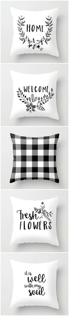 Fresh black and white decor items by Sutton Place Designs on Available as pillows, totes, art prints and more. Perfect for your neutral Farmhouse or Cottage decor! Farmhouse Chic, Farmhouse Design, White Farmhouse, Diy Pillows, Decorative Pillows, Cushions, Interior Design Inspiration, Home Decor Inspiration, White Room Decor