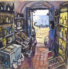 Spanish Artists, Through The Window, Costa, Barcelona, Shops, Illustrations, Painting, Decor, Dawn