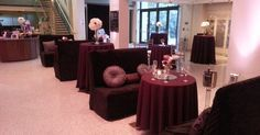 Lounge Furniture from Dallas Light and Sound greets wedding reception arrivals in the lobby at Texas Discovery Gardens.