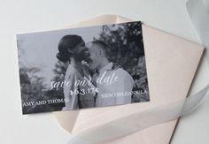 Black and White, blush custom photo save the date design