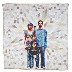 [The American Context #3] American Gothic by Luke Haynes -- quilt entirely made from recycled clothes, linens, etc.