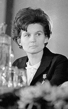 Valentina Vladimirovna Tereshkova, retired Soviet cosmonaut, the first woman in space, 1963.