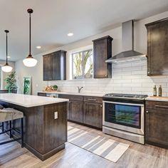Dark Brown Kitchen Cabinets, Kitchen Cabinets And Backsplash, Espresso Cabinets, Brown Kitchens, Kitchen Cabinet Design, Kitchen Redo, Kitchen Flooring, Cool Kitchens, Kitchen Remodel