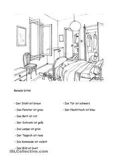 r ume im haus m bel arbeitsblatt kostenlose daf arbeitsbl tter german wohnung pinterest. Black Bedroom Furniture Sets. Home Design Ideas