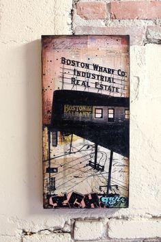Boston Wharf Co. No. 1  10x20 original Boston by maechevrette, $400.00