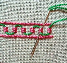 Guilloche stitch...needlenthread.com offers some good tutorials in embroidery if you want to branch out from cross stitch...h...