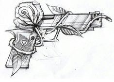 Rose und Pistole Tattoo Rose and Gun Tattoo – Tattoo Sketches, Drawing Sketches, Tattoo Drawings, Art Drawings, Drawing Tips, Drawing Drawing, Pistol Drawing, Rose Drawing Tattoo, Rose Drawings