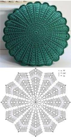 Crochet Cushion Pattern, Crochet Pillow Cases, Crochet Pillow Patterns Free, Crochet Cushion Cover, Easy Crochet Stitches, Crochet Square Patterns, Crochet Cushions, Crochet Diagram, Crochet Chart