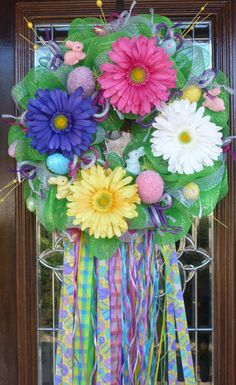 EASTER WREATH with STREAMERS by decoglitz on Etsy...summer, spring birthday