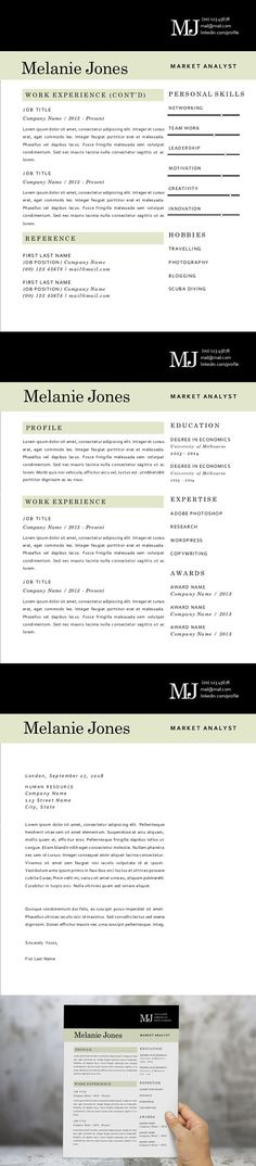 Professional Design Word CV Modern resume template, Modern resume - resume 1 or 2 pages