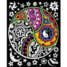 """Yin Yang - 16x20 Fuzzy Velvet Poster by Creative Platypus. $6.99. Stuff 2 Color. 821938010141. 1620VP-1014P. Brand New Item / Unopened Product. These large velvet, or flocked, posters provide great coloring guides for artists of all ages. The black flock gives incredible contrast to your colors and helps the design come to life. Coming in at 16"""" x 20"""", the posters are made with super-fine black flock. The materials can take any sort of coloring you're willing to t..."""