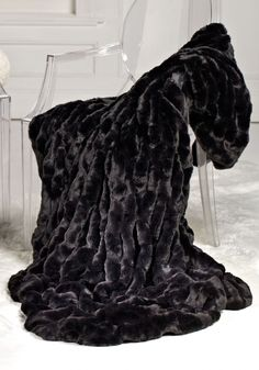 Onyx Mink Faux Fur Couture Throw Blankets - Home and Garden Design Ideas