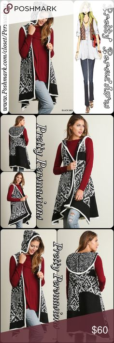 Black & White Tribal Hooded Sweater Long Vest DESCRIPTION COMING SOON  NOW AVAILABLE  TRUE TO SIZE  SERIOUSLY CUTE Pretty Persuasions Jackets & Coats Vests