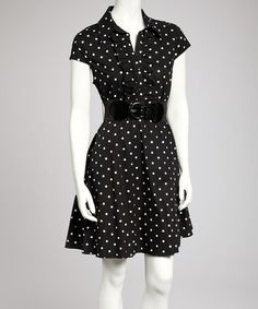 Take a look at this Black & White Polka Dot Belted Shirt Dress by Bailey Blue on #zulily today!