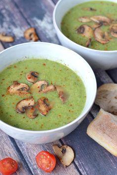 Broccoli Zucchini Soup Recipe With Spicy Mushrooms – – Hildred Lefebure - Detox Recipes Veggie Recipes, Soup Recipes, Cooking Recipes, Healthy Recipes, Vegan Soup, Healthy Soup, Zucchini Soup, Good Food, Yummy Food