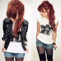 Love this! T-shirt, shorts, boots, and a leather jacket. My favorite kind of outfit. AND THE MESSY HAIR!!! <3