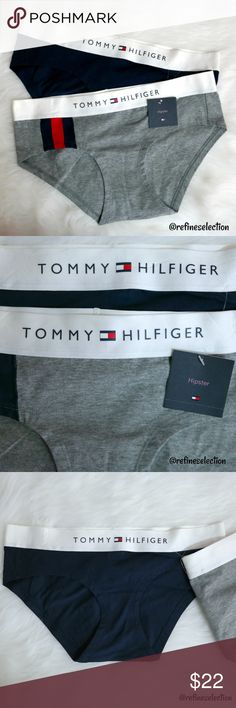 2 Tommy Hilfiger Logo Hipster Panties Brand new with tags, available in women's size Small and Medium. You will receive both the grey and navy blue hipster panties (underwear) in this set. Channel the 90's with these retro vintage inspired Tommy Hilfiger panties! love the thick waistband with the Tommy Hilfiger logo. Made of 95% Cotton and 5% Spandex. I have the matching Tommy Hilfiger cotton bralette available in my closet! Need a another size, leave me a comment! Tommy Hilfiger Intimates…