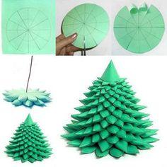 丸みを帯びたシルエットが可愛い紙のクリスマスツリー