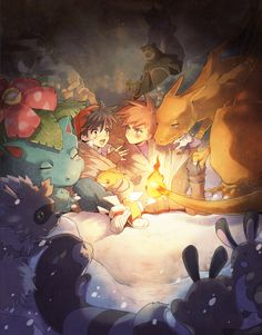 So cute! The different layers of Pokemon give the image great depth!  Pokemon: Campfire  by ~kissai @ deviantART