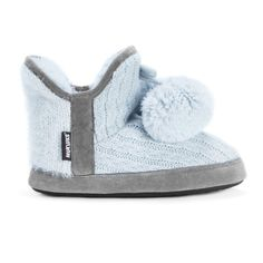 Pastel blue cable knit slipper bootie with a faux fur interior and decorative pompom.