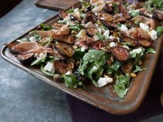 Roasted Fig Salad with Goat Cheese, Prosciutto and Arugula from Simply Laura & CookingChannelTV.com