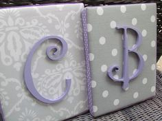 Wall Letters Lavender and Gray Nursery Gray by spellitwithstyle, $21.99