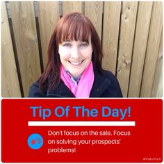 It's tough not to be focused on making sales, especially when money is really tight!  But focusing on the sale is very 'me' centric and will not likely result in any success. If you focus on solving your prospects problems and providing value, they will learn to know, like and trust you. Then the sales will come!✅ . #HallMarks #tipoftheday #instatips #valuefirst #focusonthem #solveproblems #ViSalus #Monat #Numis #Nerium #SendOutCards #YoungLiving #Jeunesse #ItWorks  #WorldVentures #Shaklee…