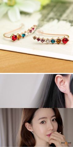 US$5.99+Free shipping. Material: Alloy, Crystal. Color: Silver, Rose Gold, Multi-color.  Fall in love with elegant and trendy style! Women's Jewelry, Women's Earrings, Women's Fashion, Christmas Accessories.