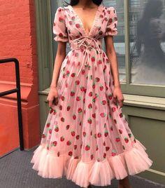 how cute is this strawberry dress? would love to wear this one out!how cute is this strawberry dress? would love to wear this one out! Pretty Dresses, Beautiful Dresses, Ruffle Dress, Dress Up, Dress Skirt, V Neck Dress, Fancy Dress, Short Sleeve Prom Dresses, Short Sleeves