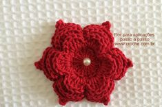 Flower for applications Crochet Brooch, Knit Crochet, Crochet Earrings, Crochet Flower Tutorial, Crochet Flower Patterns, Merian, Knitting Stiches, Knitted Flowers, Crochet Projects