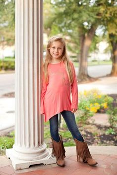 """Pre Order ST Girl's """"Smarty Pants"""" Coral Long Sleeve Top (October)"""