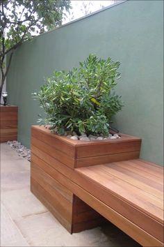 Modern Planters, Outdoor Planters, Garden Planters, Outdoor Gardens, Diy Planters, Garden Modern, Modern Patio, Contemporary Gardens, Modern Bench
