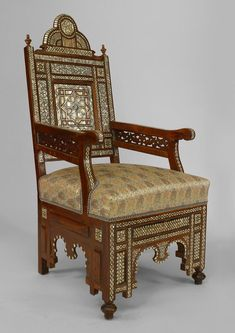 PAIR of Middle Eastern Syrian Cent) arm chairs in walnut with inlaid mother of pearl and ebony with spindle & ball and finial details (matching settee & 2 sides Indian Decor, Oriental Furniture, Furniture, Walnut Armchair, Upscale Furniture, Moorish, Middle Eastern Decor, Vintage Furniture, Beautiful Furniture