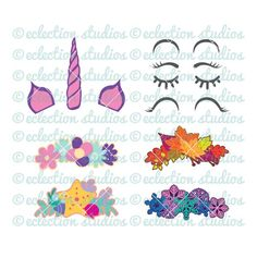 Unicorn SVG, Unicorn Face Tool Kit V1, Unicorn horn & ears, crowns, unicorn face shirt svg, eyelash Bisnis Ideas, Leaf Crown, Flower Crown, Crown Clip Art, Unicorn Ears, Mermaid Crown, Baby Svg, Topper, Crafty Craft