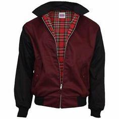 Relco Hommes Harrington Bordeaux /& Noir Années 50 look vintage rockabilly veste