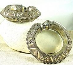 Antique Yemen Silver Bracelets with Hadhramaut Pierced Spiked Motifs