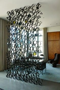 Steel tubing and stained glass partition / divider for private Tribeca apartment / loft space - great interior design idea! Room Partition Designs, Glass Partition, Partition Ideas, Diy Home Decor, Room Decor, Wall Decor, Apartment Interior, Apartment Ideas, Decoration