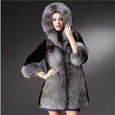 b5cb9f225f2 Europe America Luxury Fox Fur Coat Long Design 2016 New High Faux Mink Fur  Coats For Women Plus Size Warm Hooded Overcoat jacket-in Faux Fur from  Women s ...
