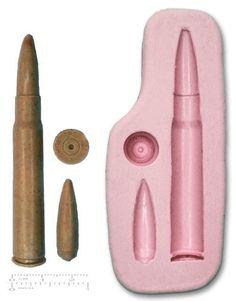GUN BULLETS Craft Mould Sugarcraft Fondant Fimo Silicone Rubber