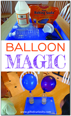 Balloon magic - a fun science activity where you inflate a balloon using baking soda and vinegar STEM STEAM handsonlearning giftofcuriosity Kid Science, Science Activities For Toddlers, Science Experiments For Preschoolers, Summer Science, Science Projects For Kids, Science Crafts, Toddler Art Projects, Kindergarten Science Activities, Science Ideas
