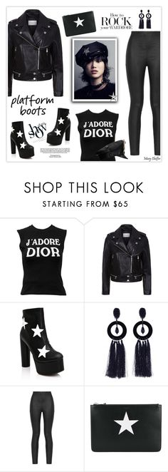 """""""How to Rock Platform Boots"""" by mcheffer ❤ liked on Polyvore featuring Christian Dior, Sandro, Rene, Public Desire, Industrie, Oscar de la Renta, Armani Jeans, Givenchy, Yves Saint Laurent and PlatformBoots"""