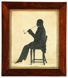 One of a lot of two American or English School full length silhouette portraits with ink details, by the same hand, this one of a seated man smoking a pipe; image credit on full record.