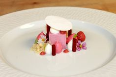 Rhubarb Strawberry Semifreddo, Mascarpone Mousse, Raspberry Glass, Starwberry Foam, Rhubarb Coulis, Shortbread Crumbs, Strawberry by Pastry Chef Antonio Bachour,