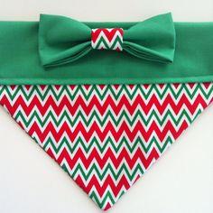 Holiday Dog Bandanas | Dog Bandana - Chevron Christmas Print - Red and Green with Bow
