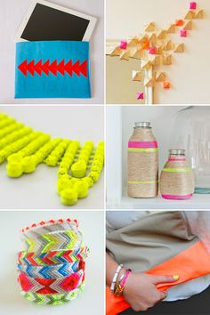 Lovers of brights, neons, and fluorescents might like these tutorials for decorations and accessories. Try one this weekend!
